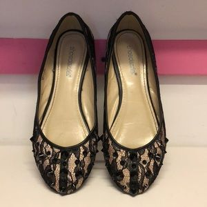 Flats - Black and Nude Lace and Rivets